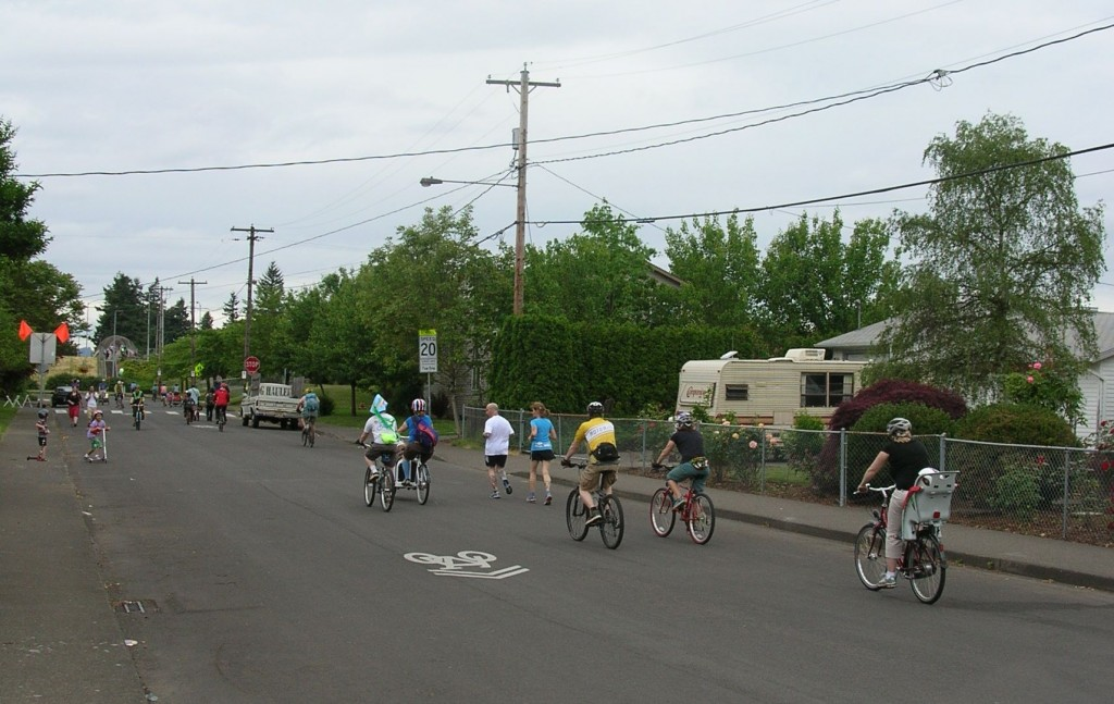 Families enjoying the open streets at Portland Sunday Parkways